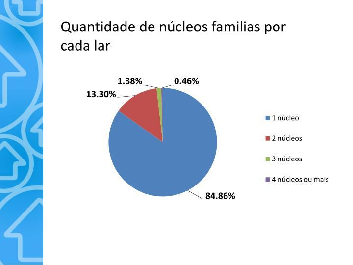 Quantidade de núcleos familias por cada lar