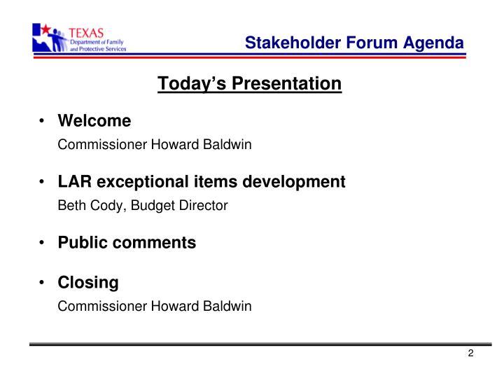 Stakeholder forum agenda
