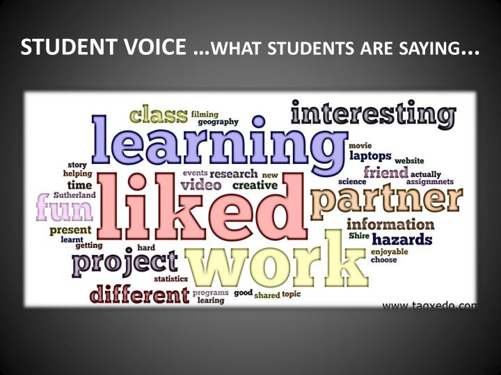 STUDENT VOICE …what students are saying...