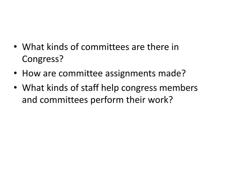 What kinds of committees are there in Congress?