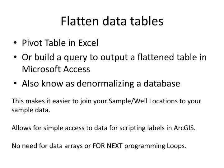 Flatten data tables