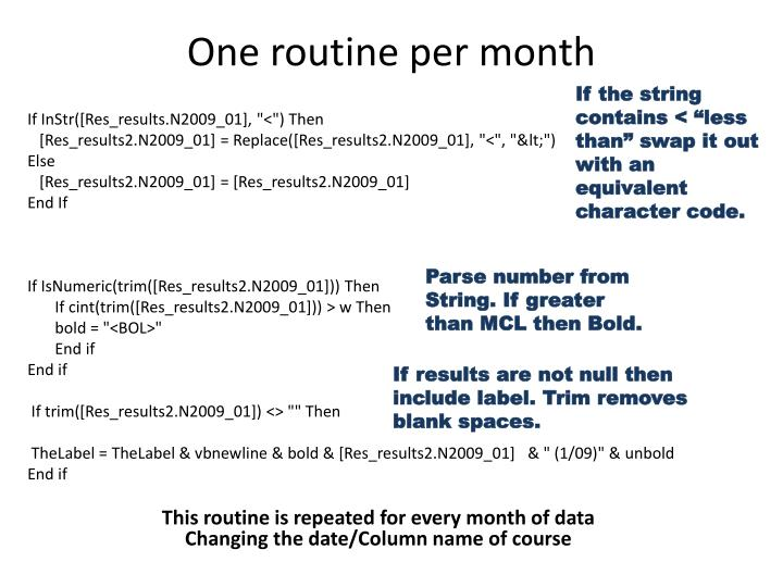 One routine per month