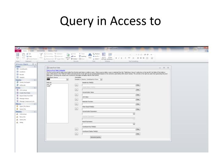 Query in Access to
