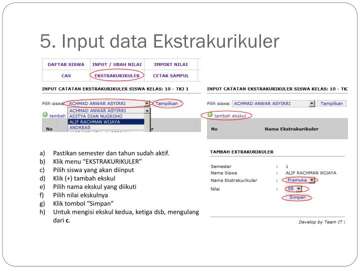 5. Input data