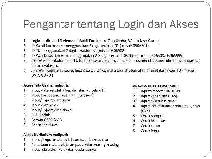 Pengantar tentang login dan akses