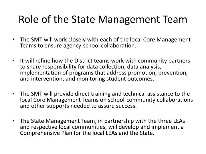 Role of the State Management Team