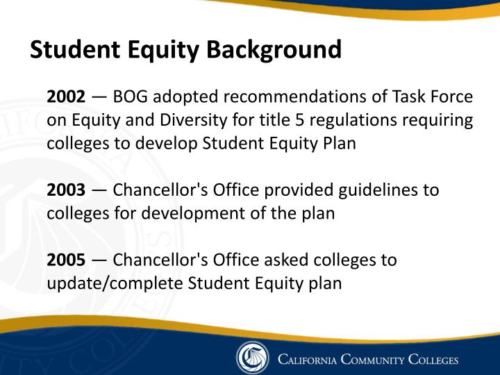 Student Equity Background