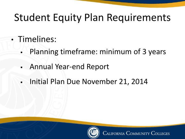Student Equity Plan Requirements