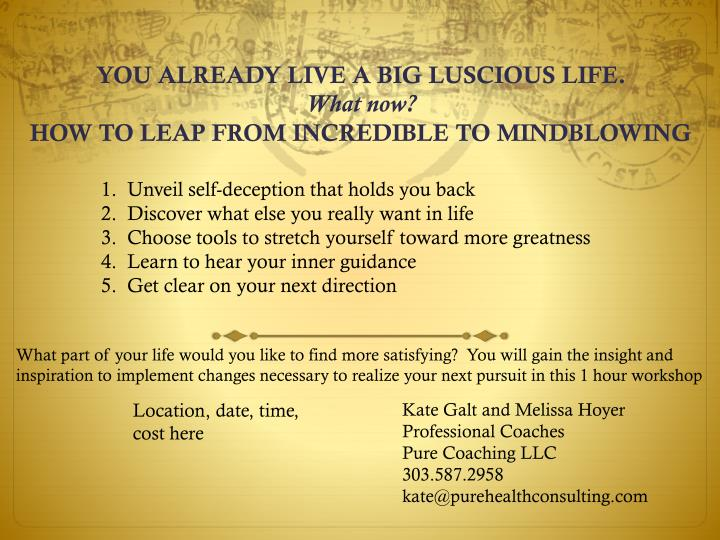 you already live a big luscious life what now how to leap from incredible to mindblowing n.