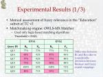 experimental results 1 3