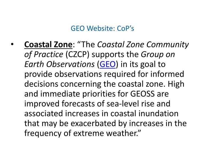 GEO Website: CoP's