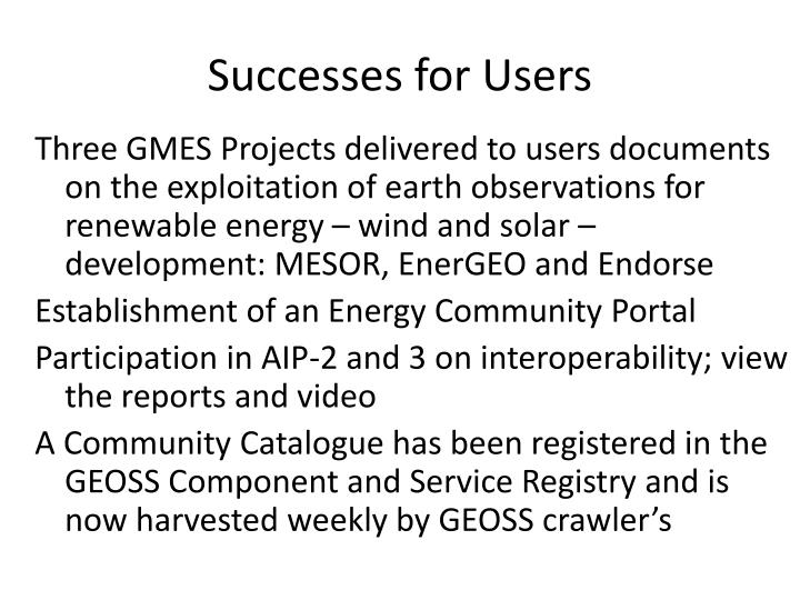 Successes for Users