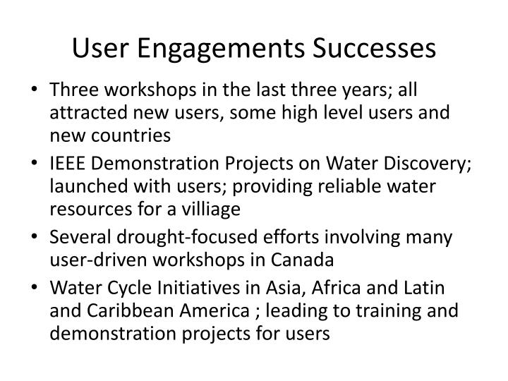 User Engagements Successes
