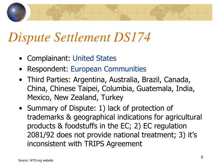 Dispute Settlement DS174