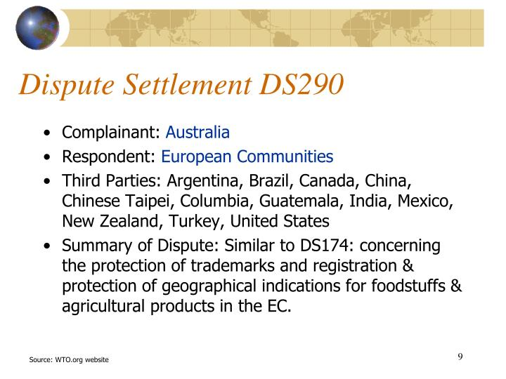 Dispute Settlement DS290