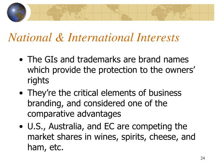 National & International Interests