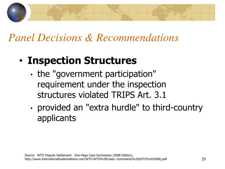 Panel Decisions & Recommendations