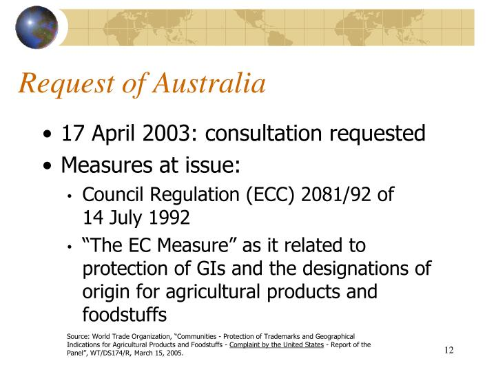 Request of Australia