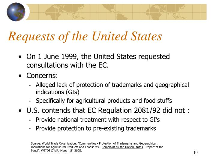 Requests of the United States