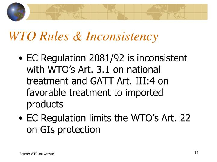 WTO Rules & Inconsistency