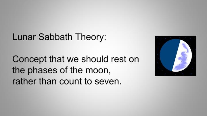Lunar Sabbath Theory: