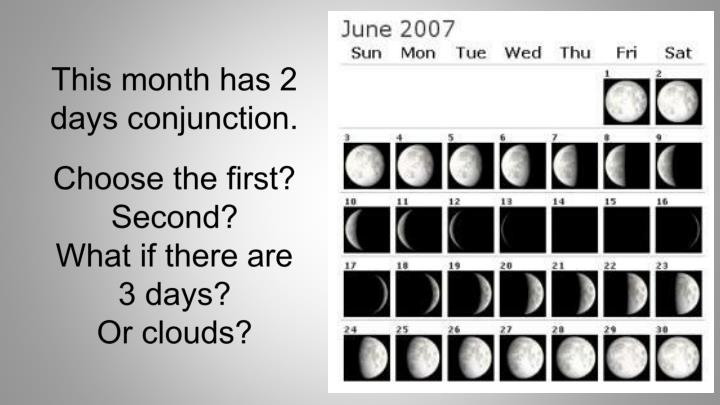 This month has 2 days conjunction.
