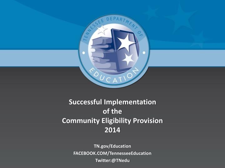 successful implementation of the community eligibility provision 2014 n.