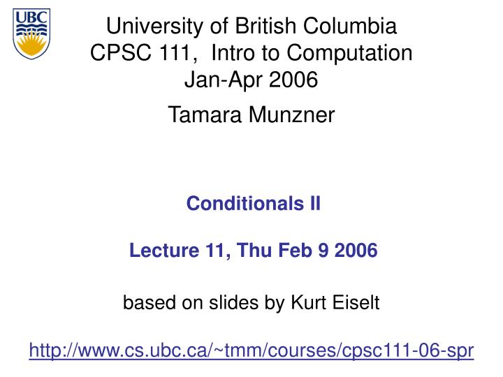 conditionals ii lecture 11 thu feb 9 2006 n.