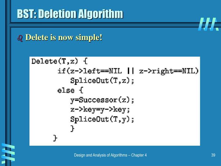 BST: Deletion Algorithm