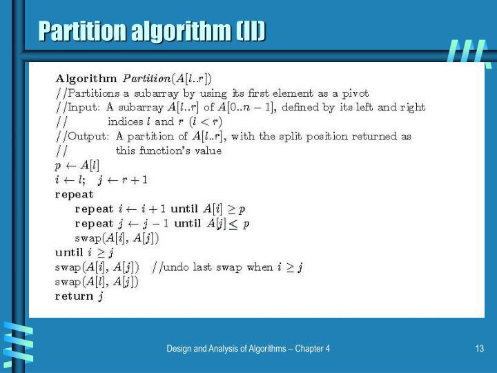 Partition algorithm (II)