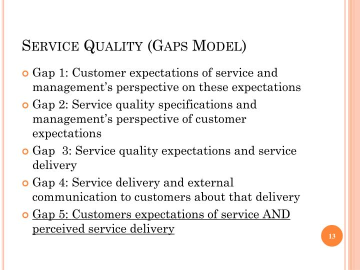 service quality gaps model Gap model of service quality consists of the following gaps: gap 1: customer expectation – management perception gap: the difference between the service the customer expects and the service level the supplier thinks that customer wants gap 2: management perception-service standard gap: the.