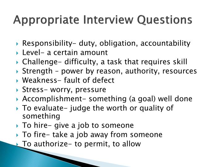 appropriate interview questions n.