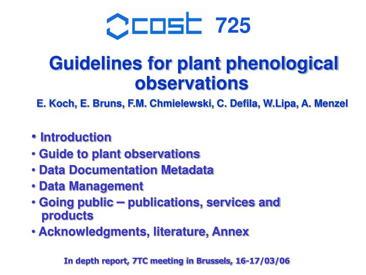 Guidelines for plant phenological observations