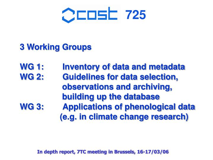 3 Working Groups