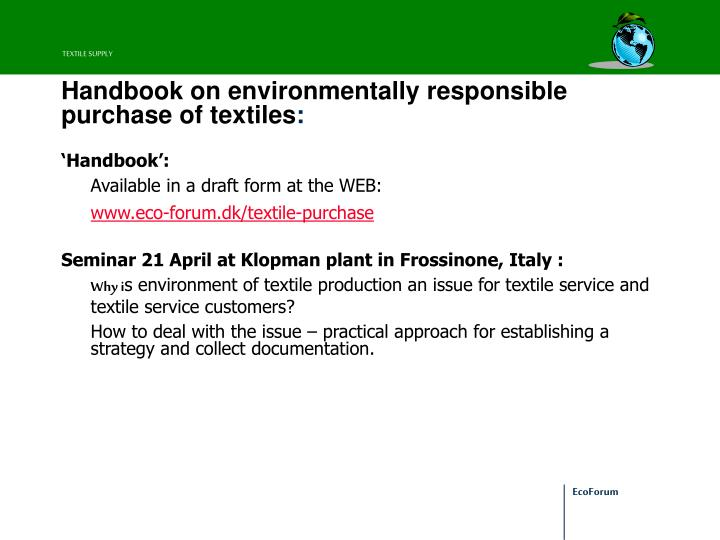 Handbook on environmentally responsible purchase of textiles