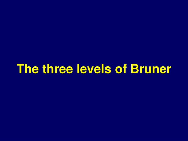 The three levels of bruner