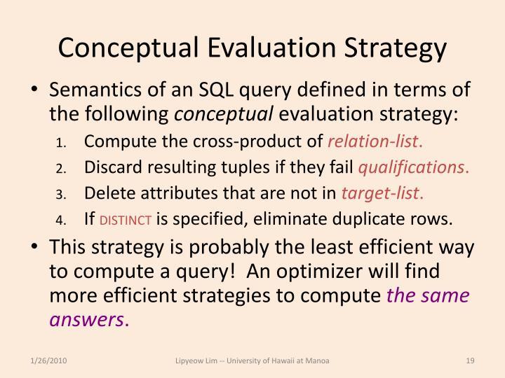 Conceptual Evaluation Strategy
