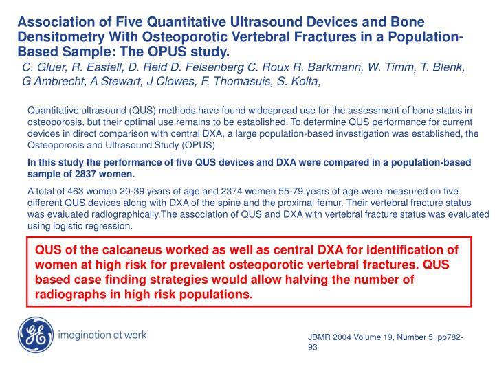 Association of Five Quantitative Ultrasound Devices and Bone Densitometry With Osteoporotic Vertebra...