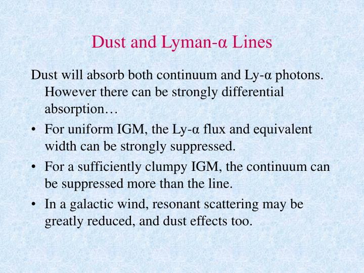 Dust and Lyman-