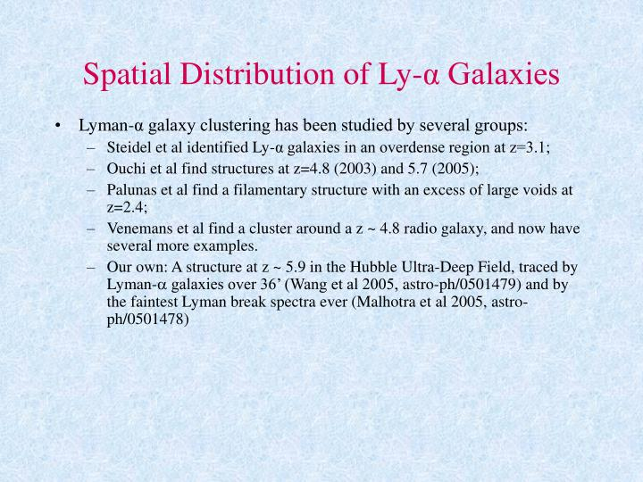 Spatial Distribution of Ly-