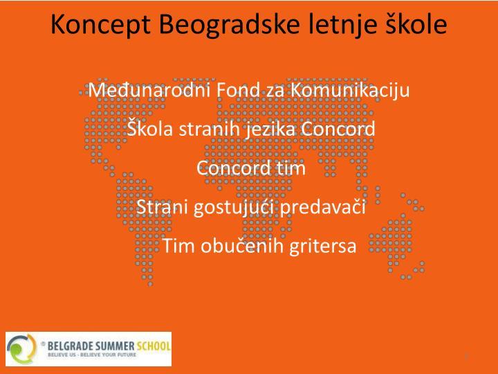 Koncept Beogradske letnje škole