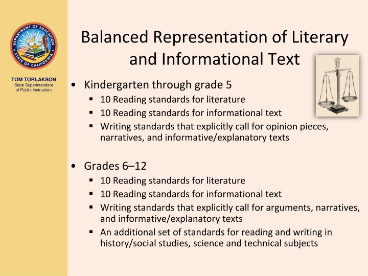 Balanced Representation of Literary and Informational Text