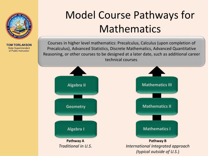 Model Course Pathways for Mathematics