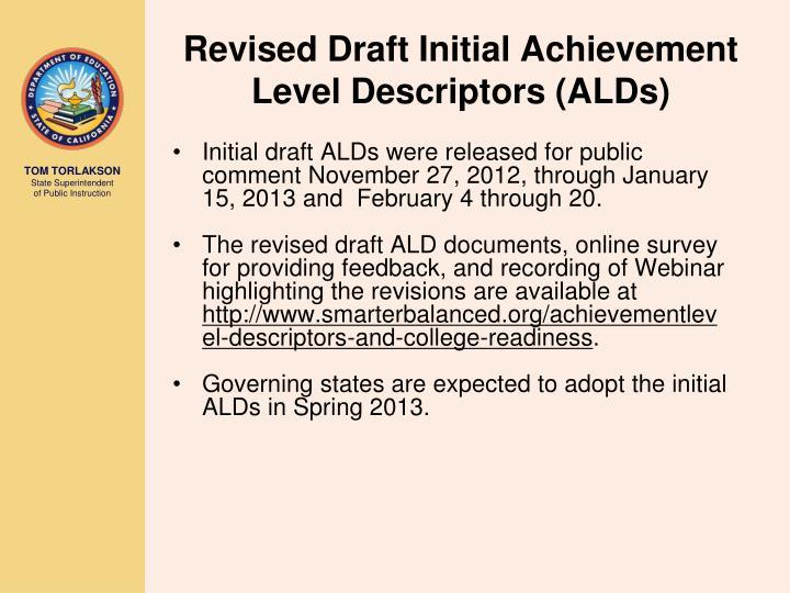 Revised Draft Initial Achievement Level Descriptors (ALDs)