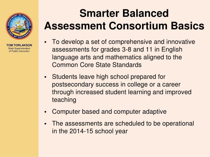 Smarter Balanced                   Assessment Consortium Basics
