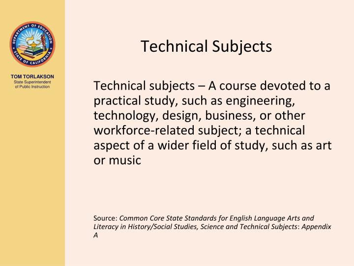 Technical Subjects