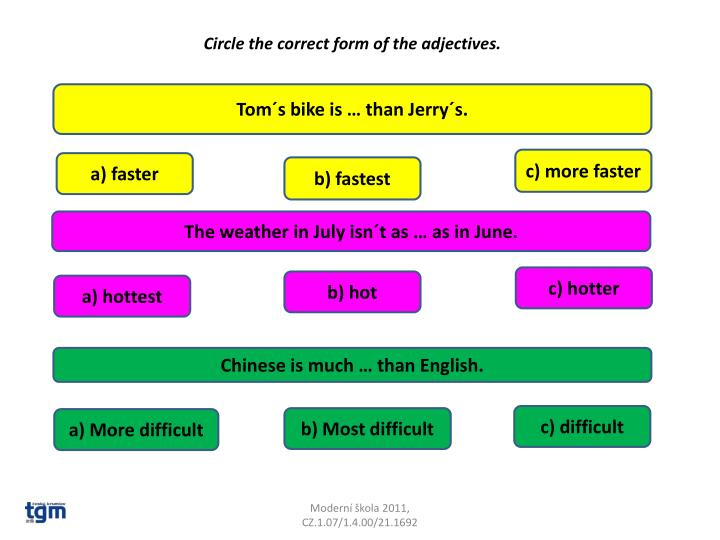 Circle the correct form of the adjectives.