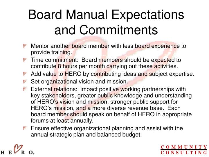 Board Manual Expectations and Commitments