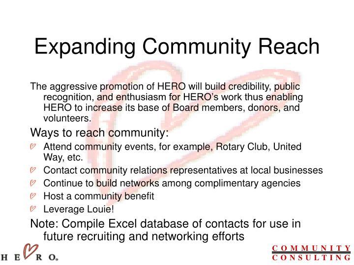 Expanding Community Reach