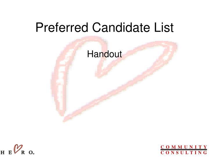 Preferred Candidate List